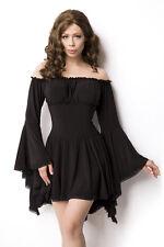 ✿ Kleid Mittelalterkleid Tunika Longbluse Bluse Schwarz Piraten 34 36 38 40 ✿