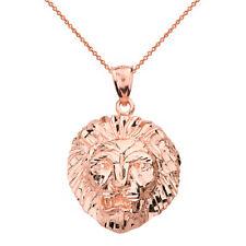 14k Rose Gold Diamond Cut Leo Zodiac Roaring Lion Head Pendant Necklace