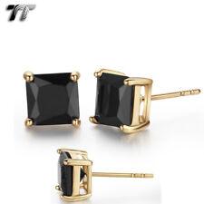 TT 18K Gold Plated Black CZ Square Stud Earrings 5mm-8mm (ES02D) 2018 NEW