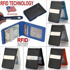 Mens Genuine Leather Money Clip RFID Blocking Slim Wallets ID Credit Card Holder