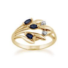 9ct Oro Amarillo 0.22ct Natural Zafiro & Diamante Floral Estilo Talla del Anillo