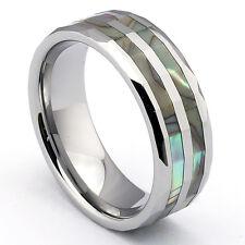 Wolfram Tungsten Ring Partnerringe Abalone Muschel Perlmutt Einlage Inlay NEU