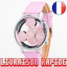 Montre Mickey Mouse Minnie Disney Horloge Femme Luxe Quartz Cuir Bijoux Cadeau