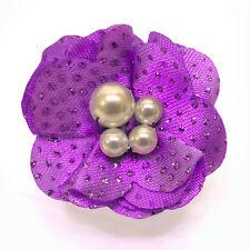 Bague Fleur tissu pailleté VIOLET et PERLES Blanche ajustable Taille 50 à  60