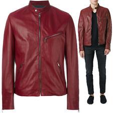 UK Man Men GENUINE Leather Jacket Biker Coat Slim Fit Veste Homme Cuir R96a