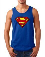 SUPERMAN LOGO SINGLET !!! Mens  COMIC SUPERHERO JUSTICE LEAGUE DC  many colours!