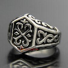 Men's Celtic 316L Stainless Steel Thor's Hammer Ring Silver Black Carved Band