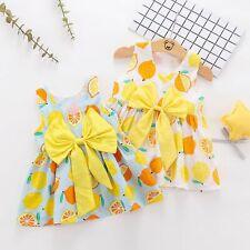 Newborn Baby Girls Fruits Print Bowknot Sleveless Dress Kid Summer Party Dresses