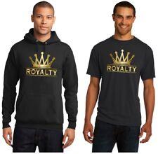 Gold Crown Royalty on Black Men T-Shirt or Hoodie Match Air Jordan Retro 4 Shoes