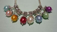 1x Imitation Pearl Pendant Charm suit European Snake Chain Bracelet Necklace DIY