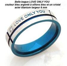 belle bague LOVE ONLY YOU bleu argenté à sillon bleu / 1 cristal largeur 8 mm .B