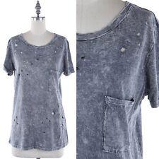 Garment Dye Short Sleeve Front Cut Out T Shirt Chest Pocket Cotton Modal S M L