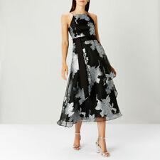 Coast Kierra Roccabella  Black/Silver Tiered Dress Size UK 14, 16
