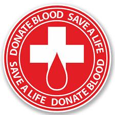 2 x 10cm Donate Blood Vinyl Sticker iPad Laptop Bike Car Donor Hospital #4922