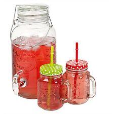 Casa Giardino Party Bicchiere Bevanda Caraffa Beccuccio Rubinetto BARATTOLO Clamp COPERCHIO Drink Dispenser