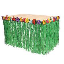Hawaiian Grass Skirt Luau Pool Backyard Green Table Flower 9ft Party Decorations