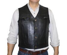 Men's Side Lace Motorcycle Genuine Cow Hide Leather Club Vest  # BN825