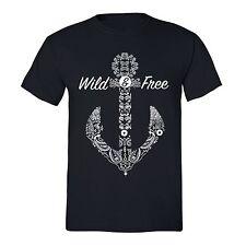 Wild Free Tshirt White Anchor Cruise Vacation Sail Summer Beach T-Shirt Black