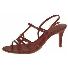 Zapatos De Fiesta Damas Marrón Sandalias De Tiras noche boda taco alto nuevos