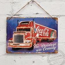 COKE Santa CAMION REPLICA Vintage In Metallo Muro Segno Cola Retrò Cucina Natale