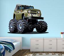 Monster Truck Wall Decal Boys Bedroom Art Racing Decor Sticker Jeep Vinyl J141