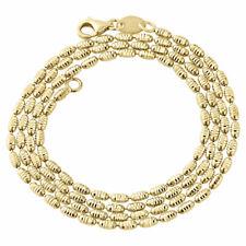 "Ladies 10K Yellow Gold Diamond Cut Rice Bead Chain 2mm Italian Necklace 20-24"""