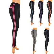 Womens Workout Leggings Stripe Stretch Yoga Pant Quick Dry Sport Gym M L XL 2X