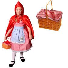 GIRLS LITTLE RED RIDING HOOD + BASKET FANCY DRESS COSTUME CAPE SCHOOL BOOK WEEK