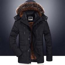 Mens Winter Jacket Hooded Fur Collar Thicken Fleece Warm Outwear Parka Coat SIZE