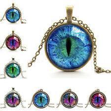 Spezielle Drachen Cat Eye Glas Cabochon Anhänger auf Bronze Halskette KetteZP