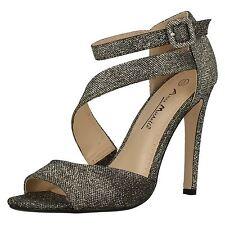 Anne Michelle F10409 Ladies Black Glitter Stiletto Eveing/Party Shoes