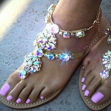 Sandals women summer beach 2017 Gladiator Rhinestone Sandals