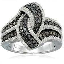 925 Silver Rings Black&White Cross Sapphire Gems Women Wedding Party Jewelry NEW