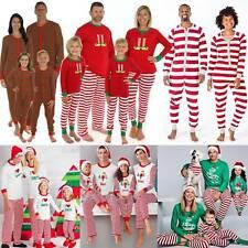 Striped Pajamas Nightwear PJs Matching Family Christmas Pyjamas Xmas Adult Kids