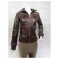 Ladies Brown Glaze Leather Slim Tight Fitted Short Biker Fashions Jacket Bike