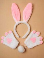 RASO di rosa bianco Orecchie Pelliccia peloso Easter Bunny dell/' orecchio dell/' animale Coniglio Costume