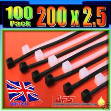 200mm x 2.5mm Black Nylon Cable Ties 100 Tie Zip Wraps