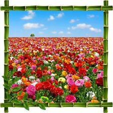 Sticker mural trompe l'oeil déco bambous Fleurs926