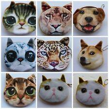 Ladies Boys Girls Wallet Coin Purse Animal Dog Cat Pet Keychain Handbag Fashion
