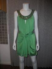 ERATO Beaded Embellished Belted Tunic Mini Dress Green 4 US / 8 UK