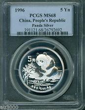 1996 PANDA SILVER COIN 1/2 Oz. 5Y 5-Yuan 5-Yn CHINA PCGS MS68  STUNNING !!