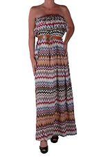 Womens Casual Multicolor Chevron Print Maxi Long Boob Tube Party Ladies Dress