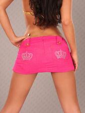 SeXy Miss Damen extrem Mini Rock Gogo pink jeans Look Steine Krone 32 34 36