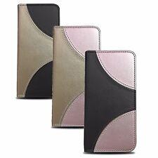 * 2 Farben Book Case Buch Handy Tasche Cover Etui Schutzhülle ver. Handys