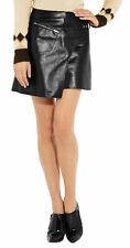 Women Real Leather Skirt Hot Girls Party Wear Asymmetrical Wrap Micro Mini Skirt