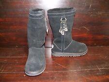 New Kids UGG Larynn Black Tall Suede Sheepskin Metal Charm Winter Warm Boots