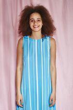 THE WHITEPEPPER  Oversize Peplum Hem Dress White Hipster Blue Stripe #20D246