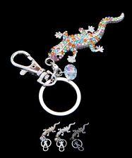 Gecko Lizard Salamander Rhinestone Metal Keychain Silver, Black,Multicolor