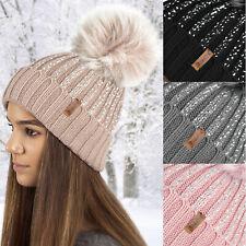 Ladies Winter Faux fur Pom Pom Silver Diamante Metallic Glitter Print Beanie Hat