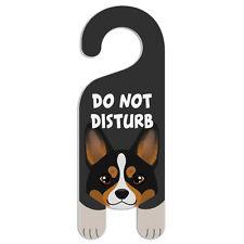 Tri Color Pembroke Welsh Corgi Dog Do Not Disturb Plastic Door Knob Hanger Sign